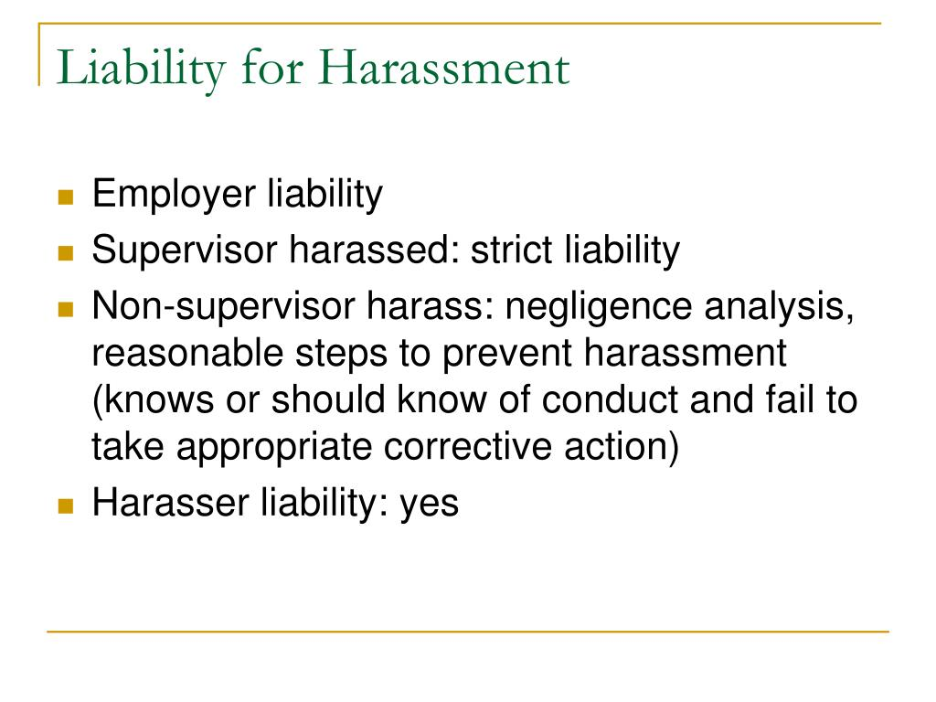 Liability for Harassment