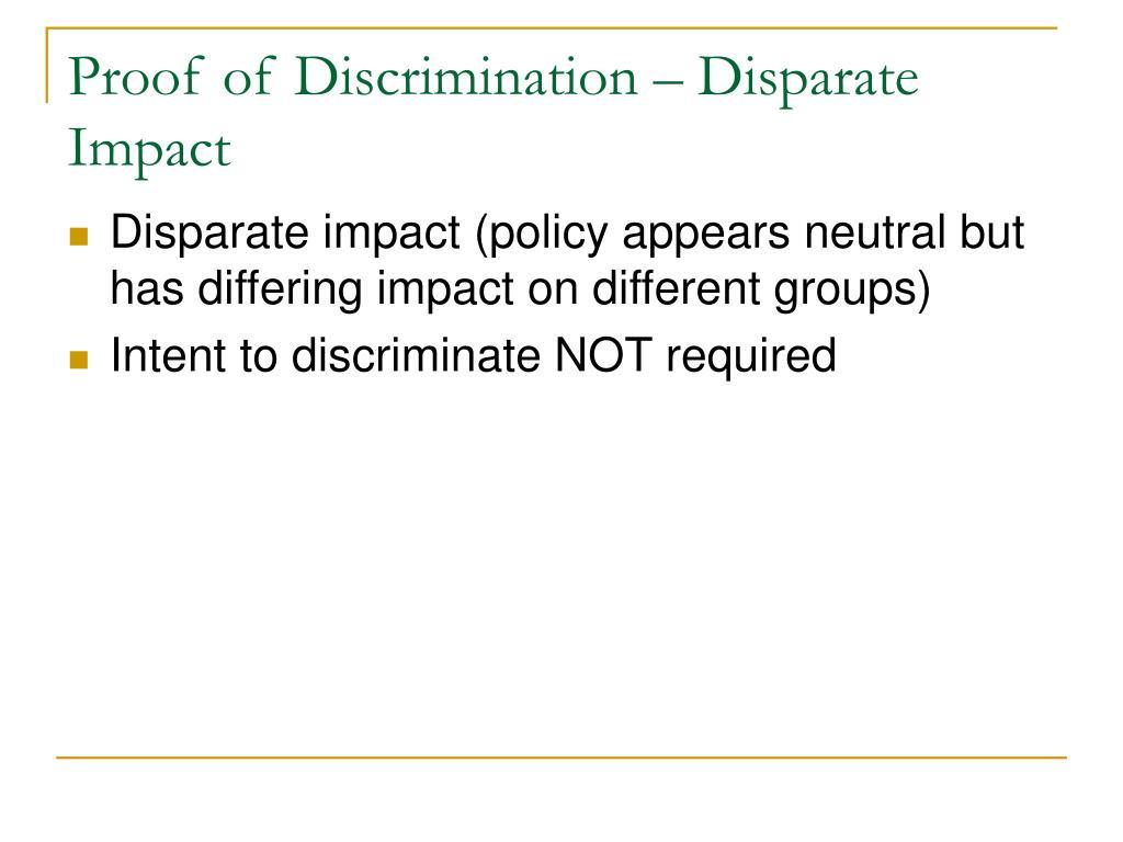 Proof of Discrimination – Disparate Impact