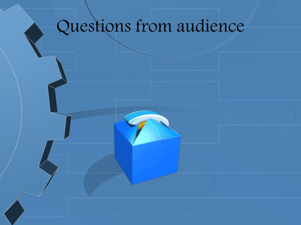 Questions from audience