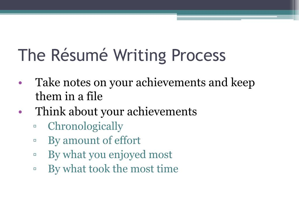The Résumé Writing Process