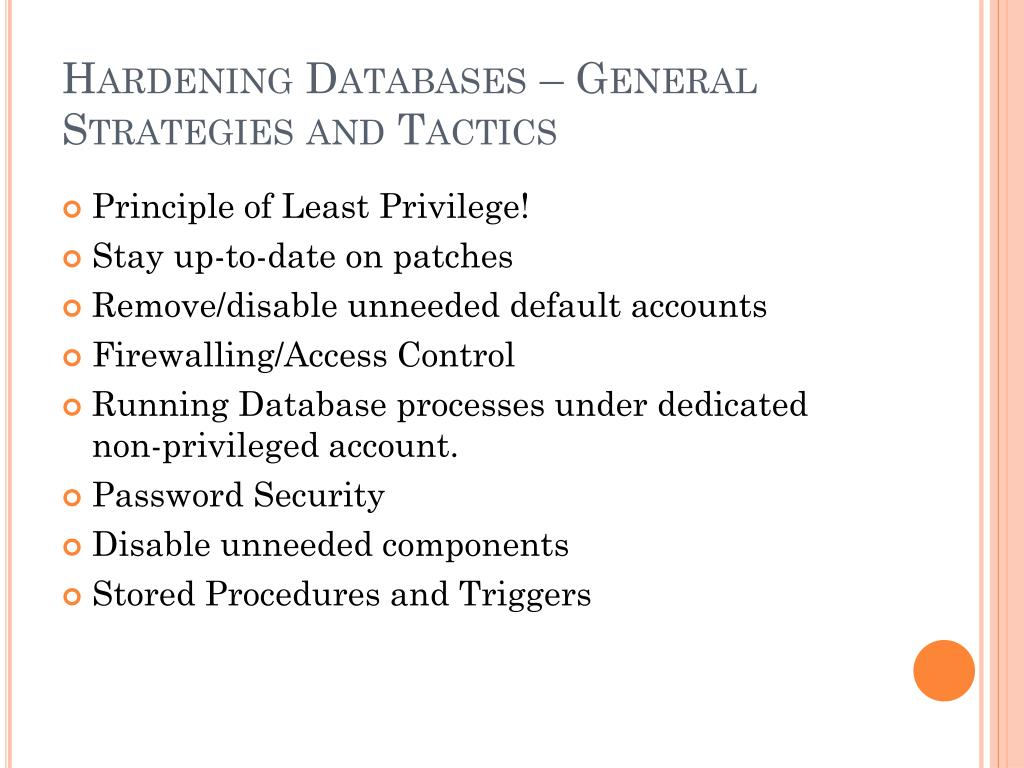 Hardening Databases – General Strategies and Tactics