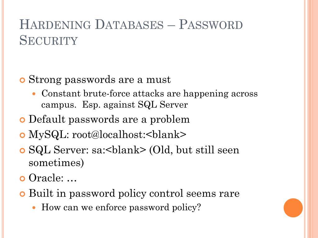 Hardening Databases – Password Security