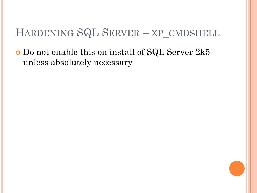 Hardening SQL Server –