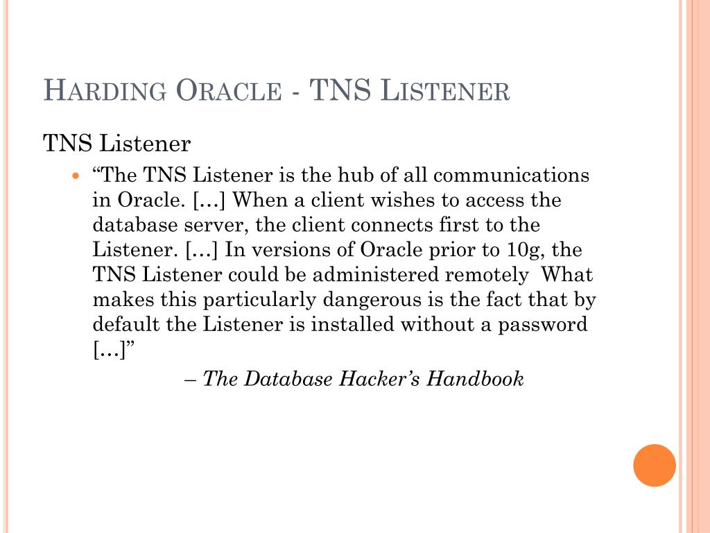 Harding Oracle - TNS Listener