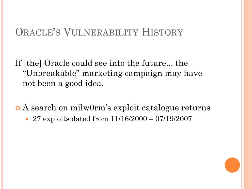 Oracle's Vulnerability History
