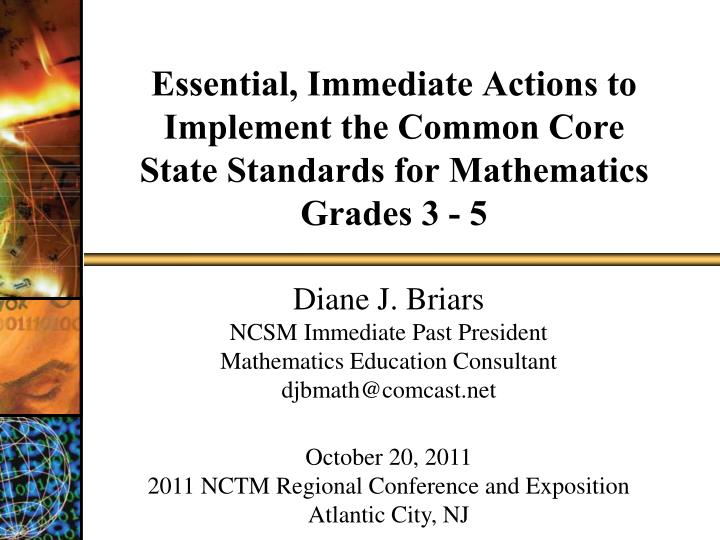 essential immediate actions to implement the common core state standards for mathematics grades 3 5 n.