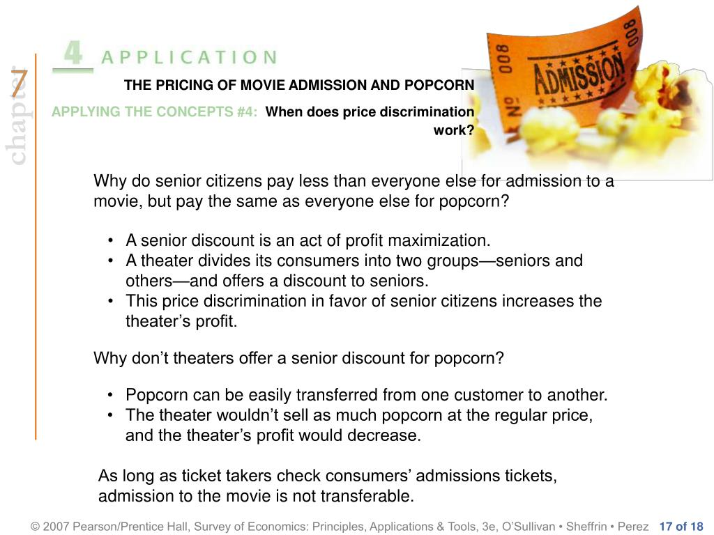 THE PRICING OF MOVIE ADMISSION AND POPCORN