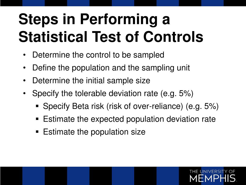 Steps in Performing a Statistical Test of Controls