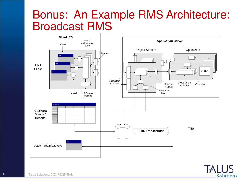 Bonus:  An Example RMS Architecture: