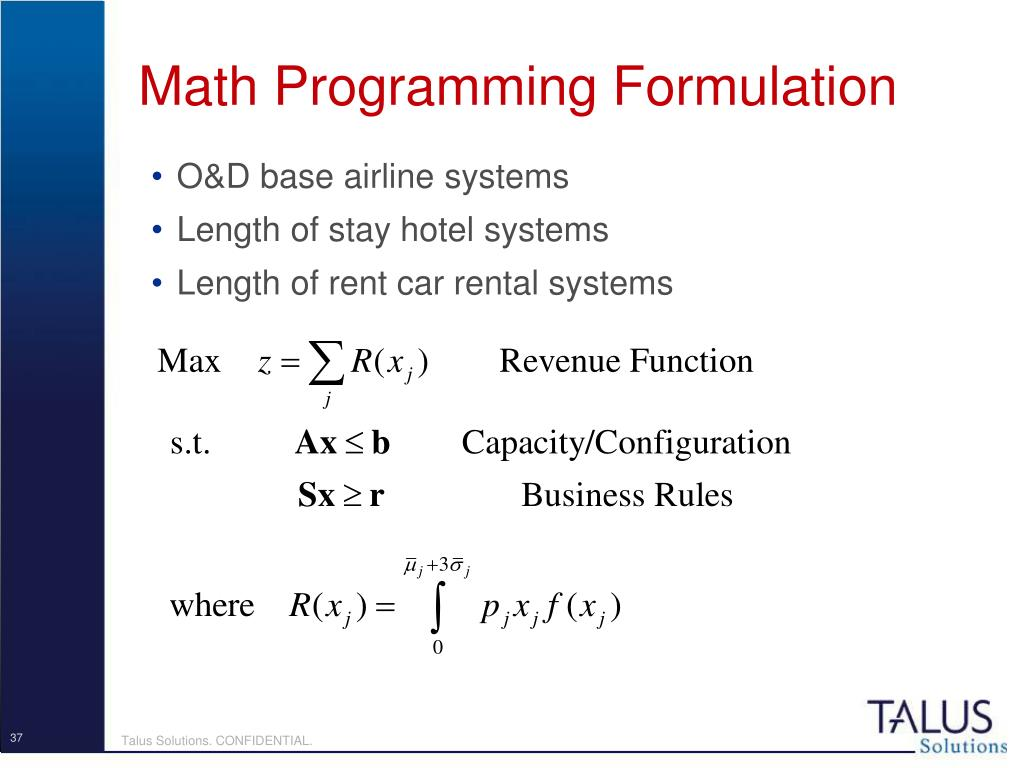 Math Programming Formulation