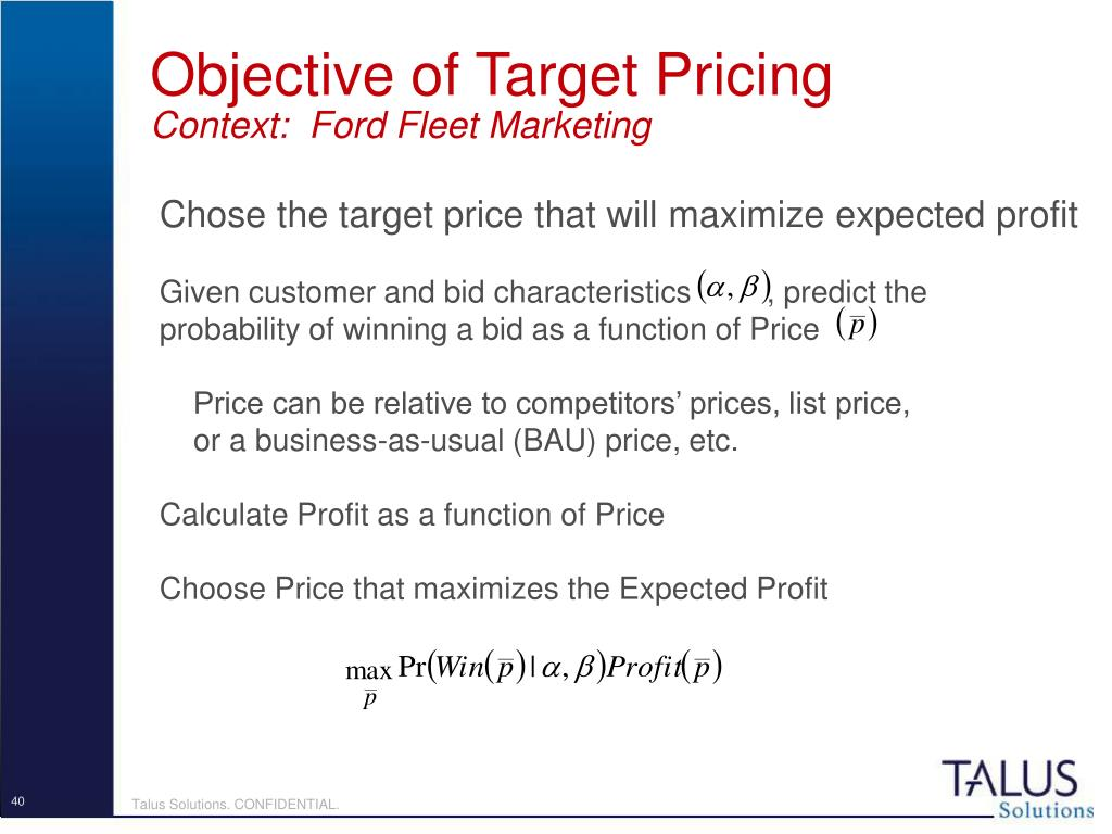 Objective of Target Pricing