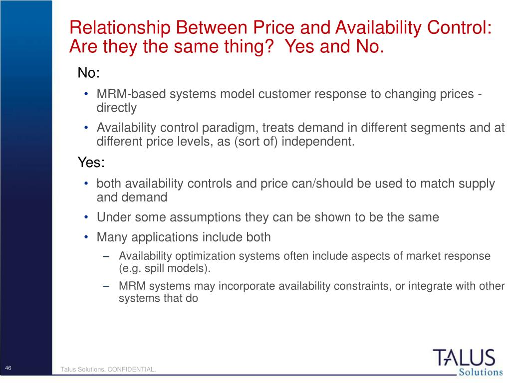 Relationship Between Price and Availability Control:  Are they the same thing?  Yes and No.