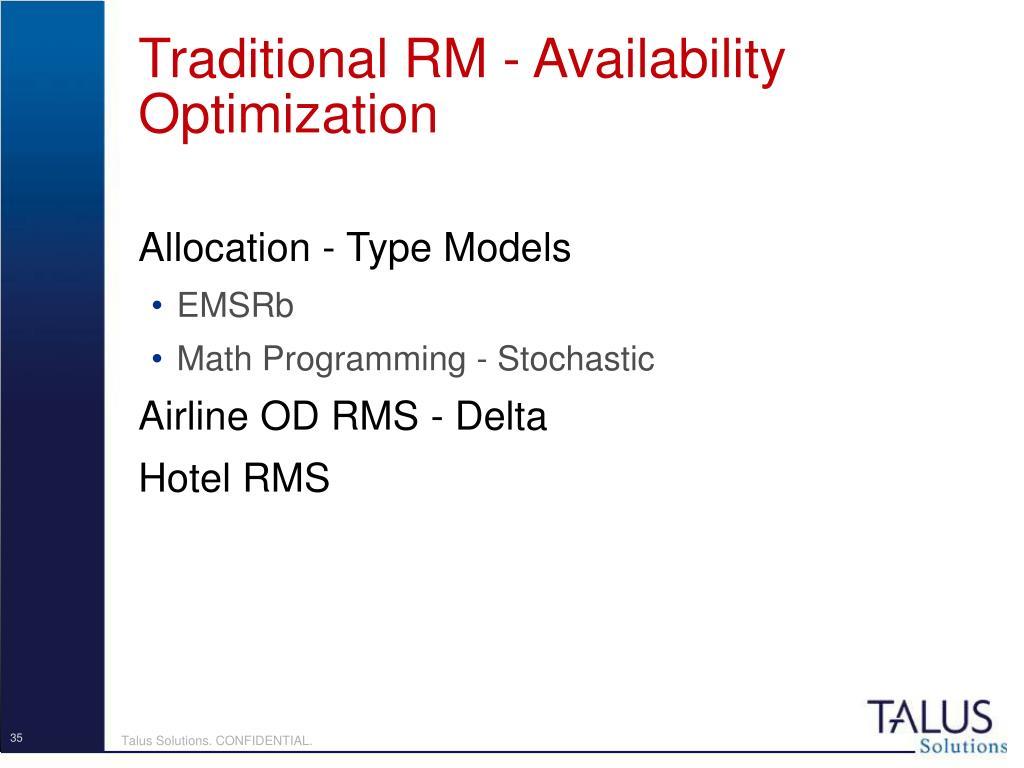 Traditional RM - Availability Optimization
