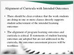 alignment of curricula with intended outcomes