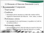 i 2 elements of outcome statements cont d