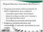program outcomes assessment bad practice 1