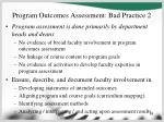 program outcomes assessment bad practice 2