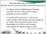 program outcomes assessment what has been learned from sacs commonly cited issues