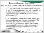 program outcomes assessment what has been learned from sacs commonly cited issues13