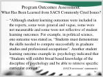 program outcomes assessment what has been learned from sacs commonly cited issues14