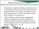 program outcomes assessment what has been learned from sacs commonly cited issues60