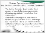 program outcomes assessment what has been learned from sacs commonly cited issues61