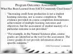 program outcomes assessment what has been learned from sacs commonly cited issues62