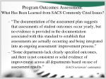 program outcomes assessment what has been learned from sacs commonly cited issues64