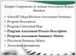 sample components of annual assessment report handout