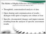 the habits of highly effective assessment systems adapted from jackson johnson 200777