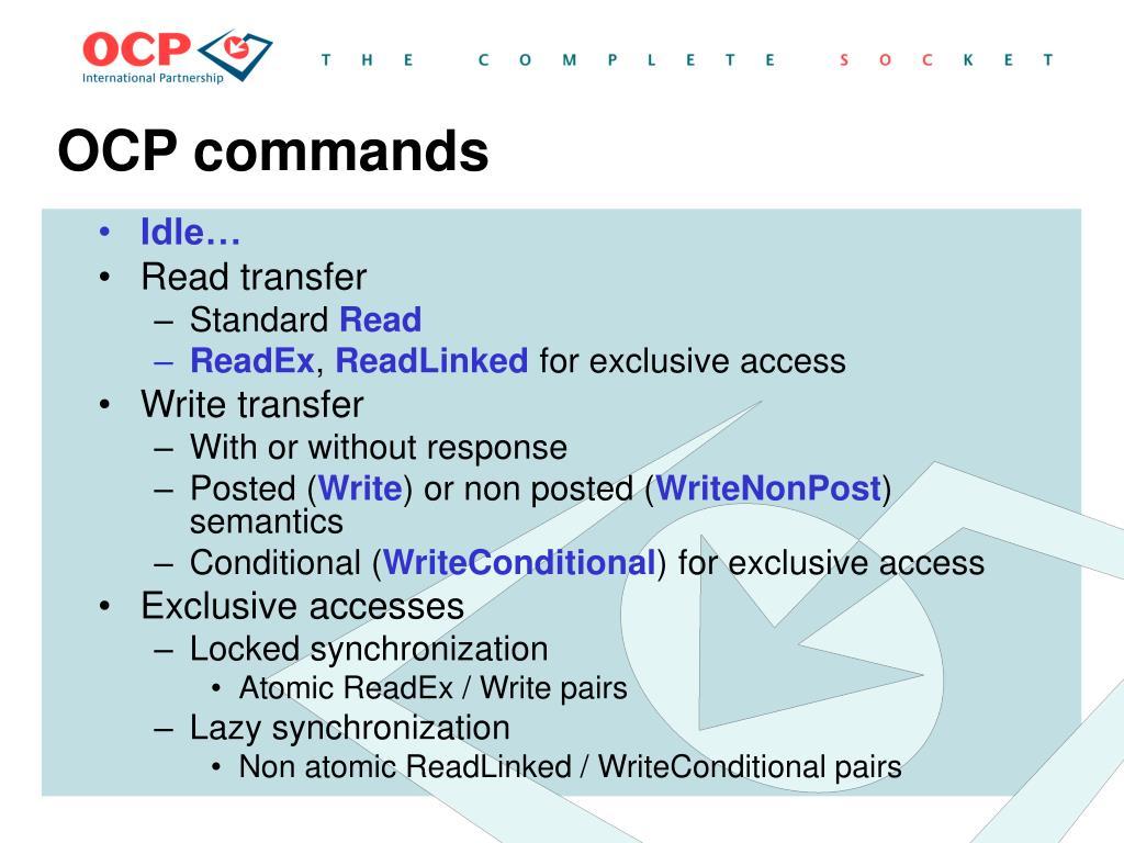 OCP commands
