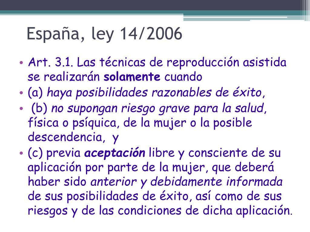 España, ley 14/2006