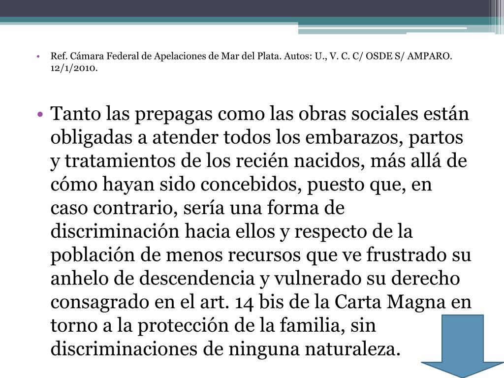 Ref. Cámara Federal de Apelaciones de Mar del Plata. Autos: U., V. C. C/ OSDE S/ AMPARO. 12/1/2010.