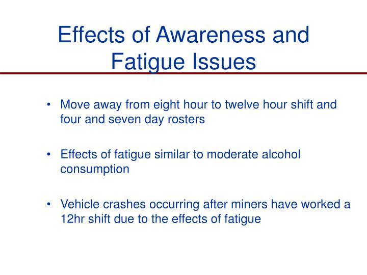 Effects of Awareness and Fatigue Issues