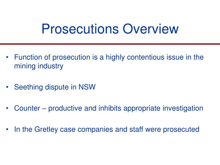 Prosecutions Overview