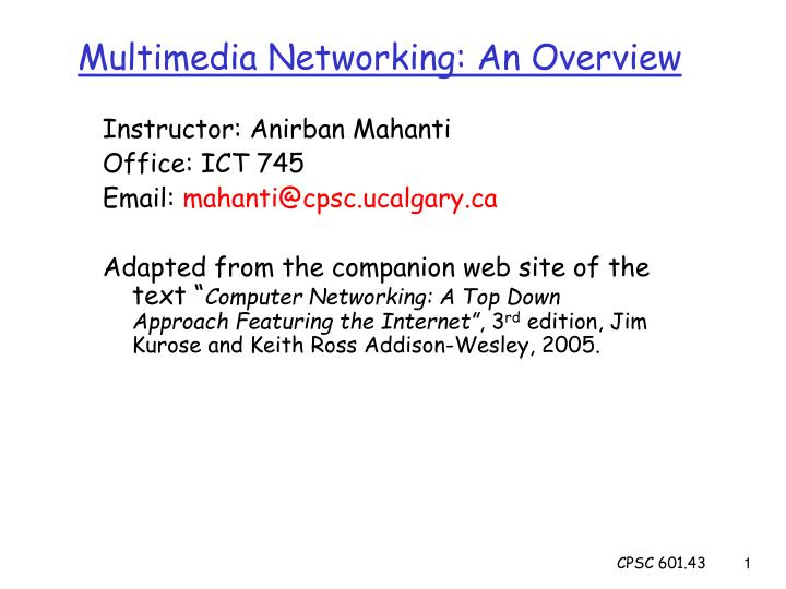 Multimedia networking an overview