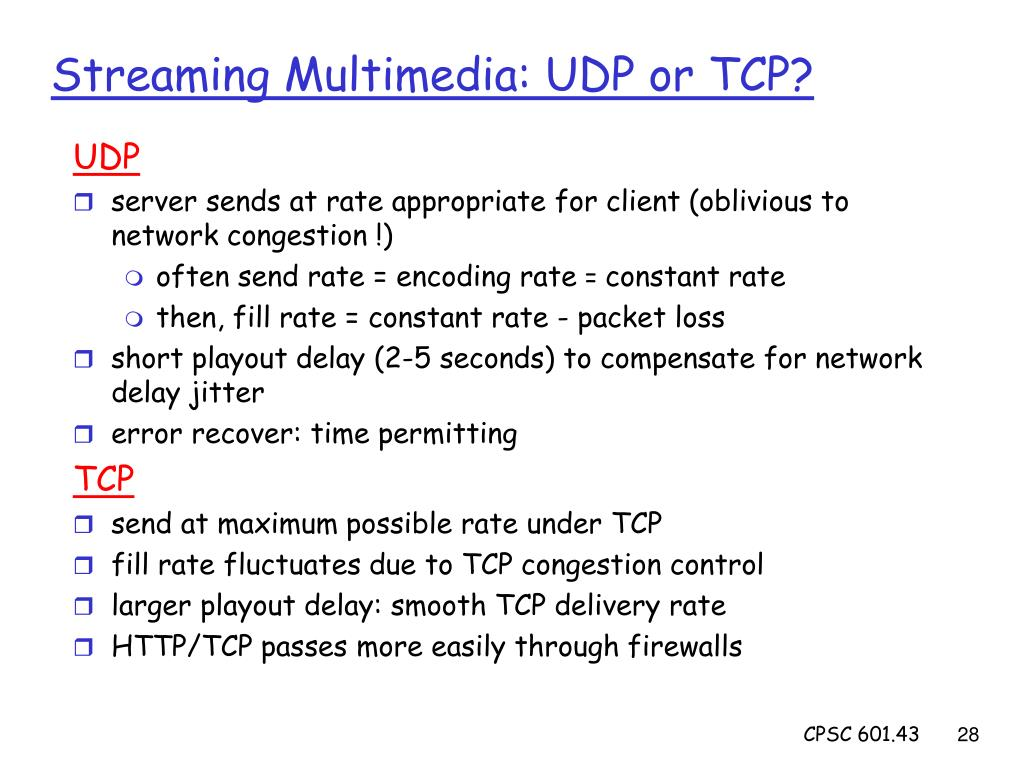 Streaming Multimedia: UDP or TCP?