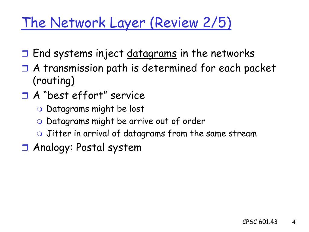 The Network Layer (Review 2/5)