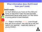 what information does docs need from you cont