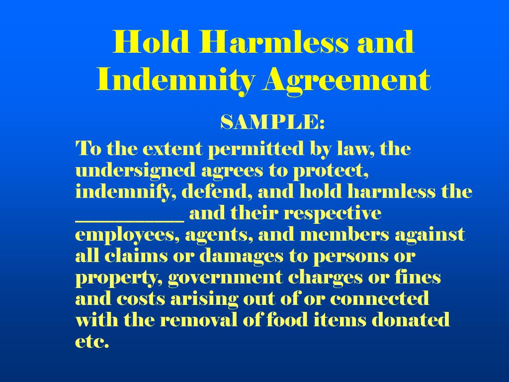 Hold Harmless and Indemnity Agreement