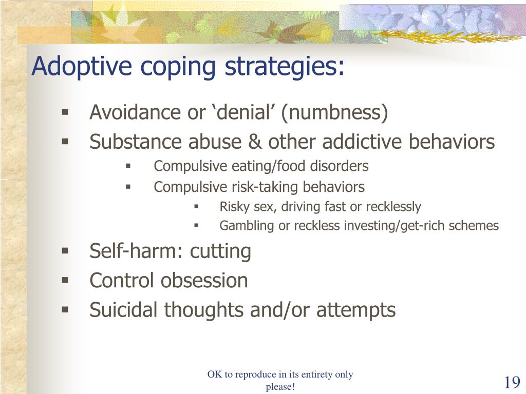 Adoptive coping strategies: