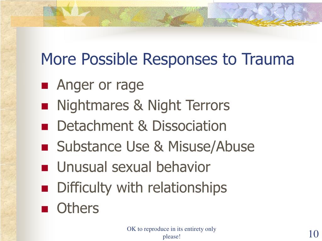 More Possible Responses to Trauma