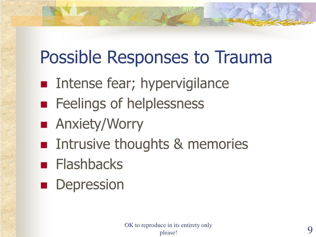 Possible Responses to Trauma