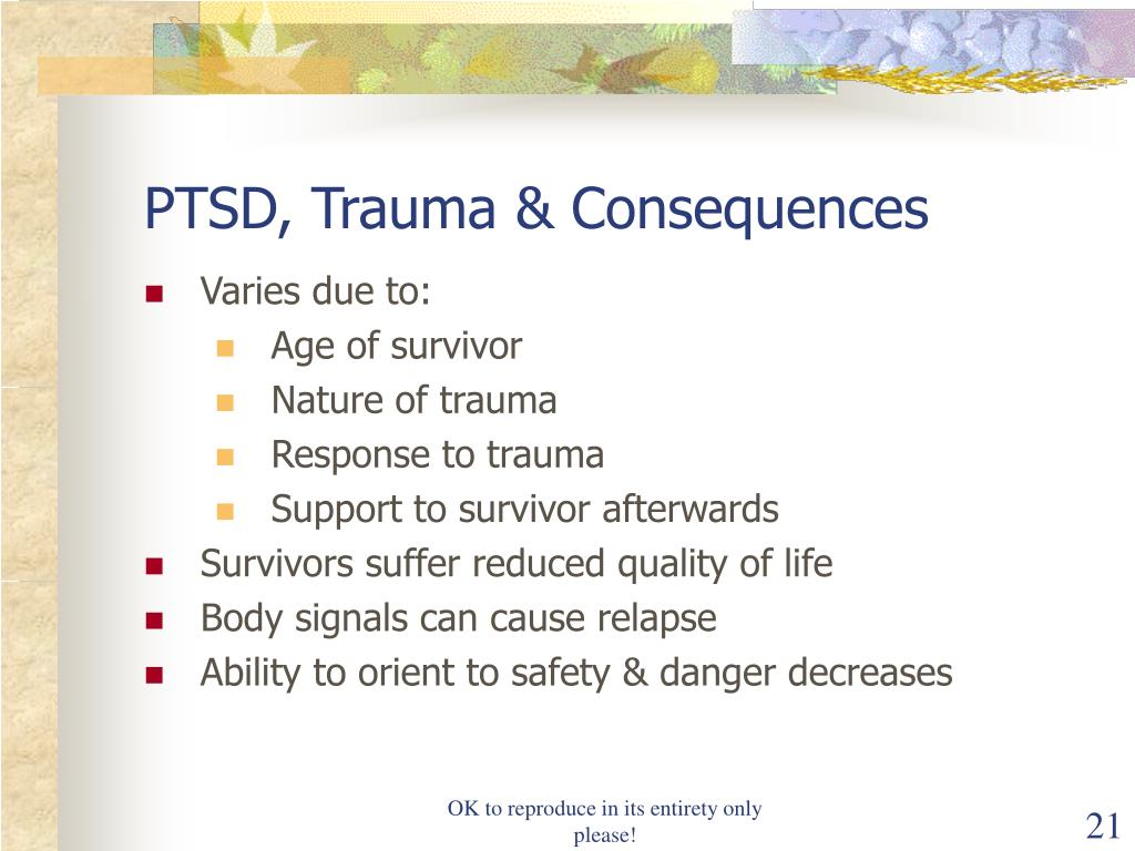 PTSD, Trauma & Consequences