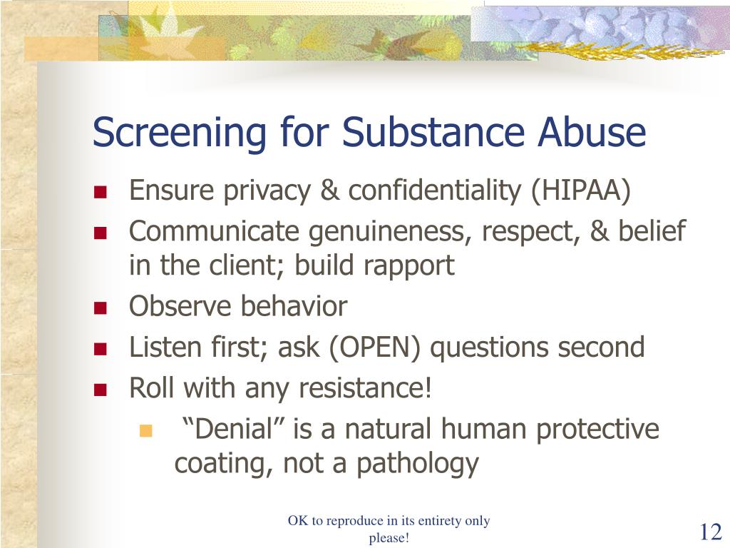 Screening for Substance Abuse