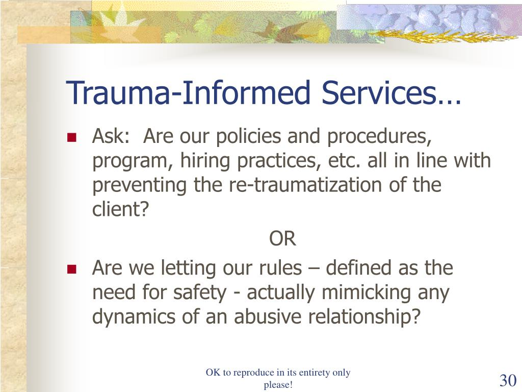 Trauma-Informed Services…