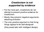 creationism is not supported by evidence
