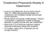creationism proponents already in classrooms