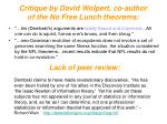 critique by david wolpert co author of the no free lunch theorems