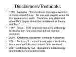 disclaimers textbooks
